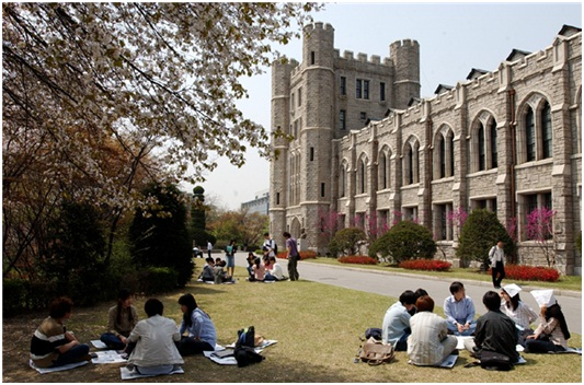1 góc khuân viên tại trường đại học Korea