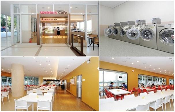 Nhà ăn và phòng giặt ở ký túc xá được trang bị hiện đại phục vụ cho nhu cầu sinh hoạt của sinh viên