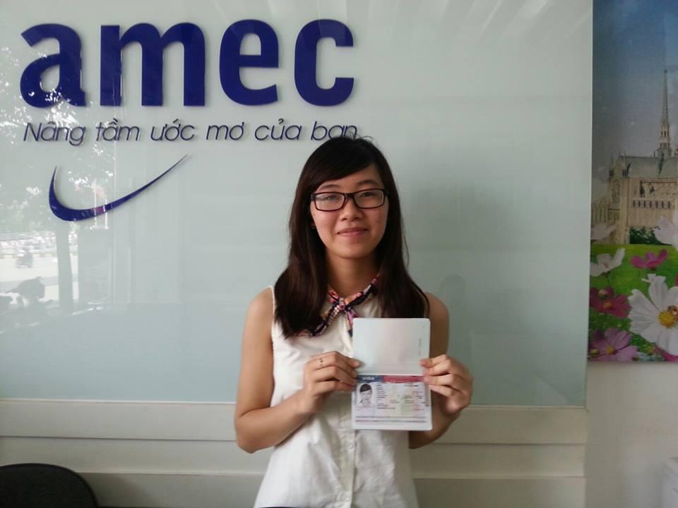 Bạn Nguyễn Thu Kiều - 1 trong những học sinh AMEC đã đạt Visa trong tháng 7/2014